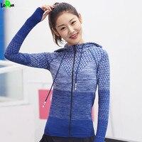 LoRun Yoga Shirt Tops Women Sportswear Hoodies With Hats Running Sports Tights Clothing Jackets Coat Girl