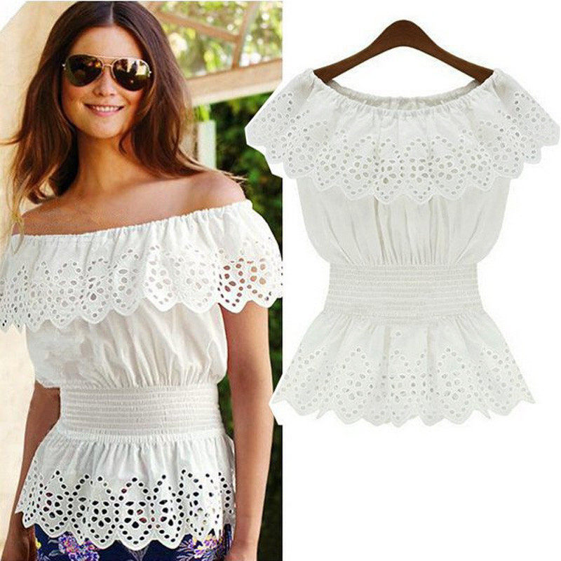 0886160246 Celmia Sexy Off Shoulder Tunic Top Women Lace Blouse 2019 Summer Ruffles  Hollow White Blusas Sleeveless