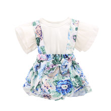 Toddler baby Girls clothes set Short Sleeve T-shirt floral Sling romper Dress cute newborn clothes suits for girl outfits 2pcs(China)