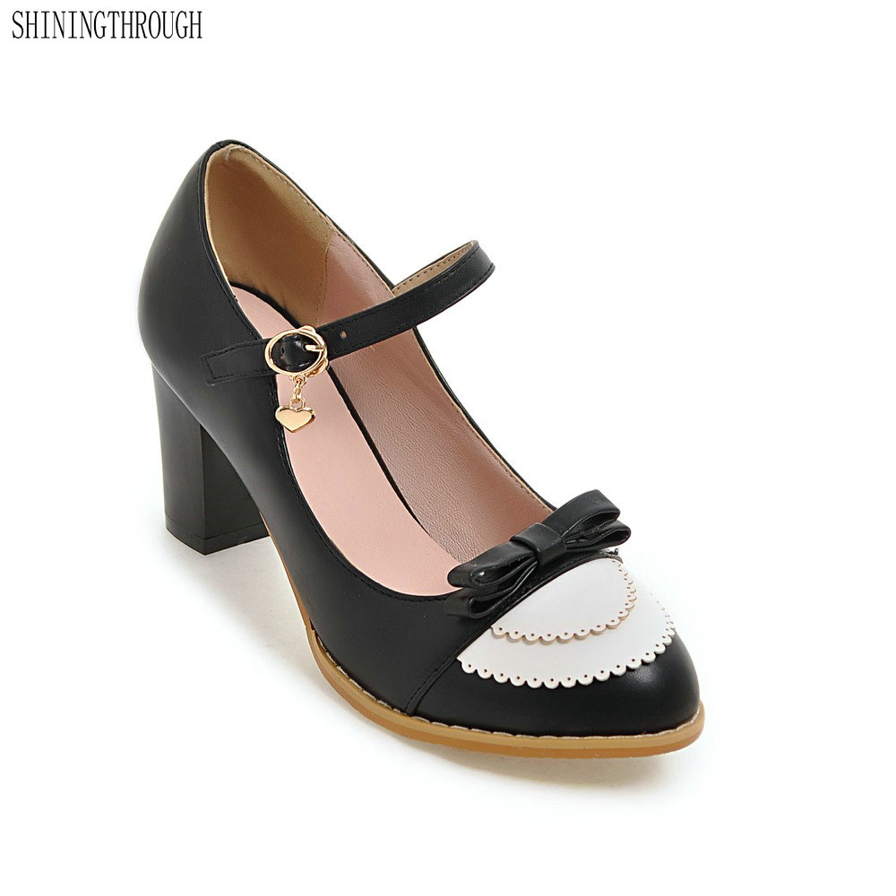 New big size 34-43 fashion sweet woman small bowtie pumps ladys sexy high heeled shoes for women footwear mary janes alfani new black women s size small s mesh back high low ribbed blouse $59 259