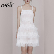 Max Spri 2019 New Sexy Spaghetti Strap Square Neck Sleeveless Mesh Lace Tiered Sweet Girl Party Outfit Women A-Line Mini Dress sweet square neck sleeveless circle printed dress for women