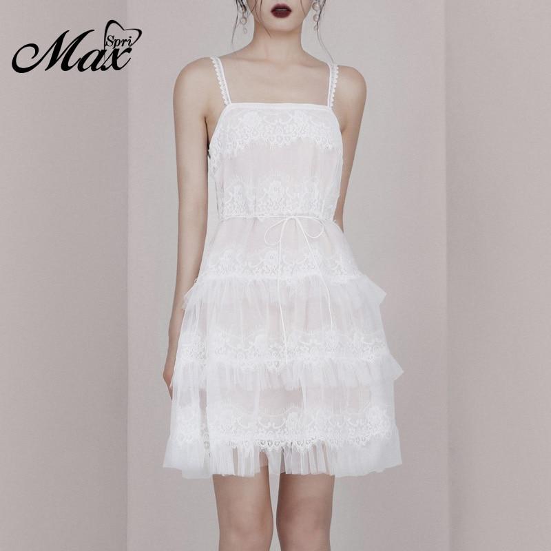 Max Spri 2019 nouvelle Sexy Spaghetti sangle col carré sans manches maille dentelle à plusieurs niveaux douce fille fête tenue femmes une ligne Mini robe