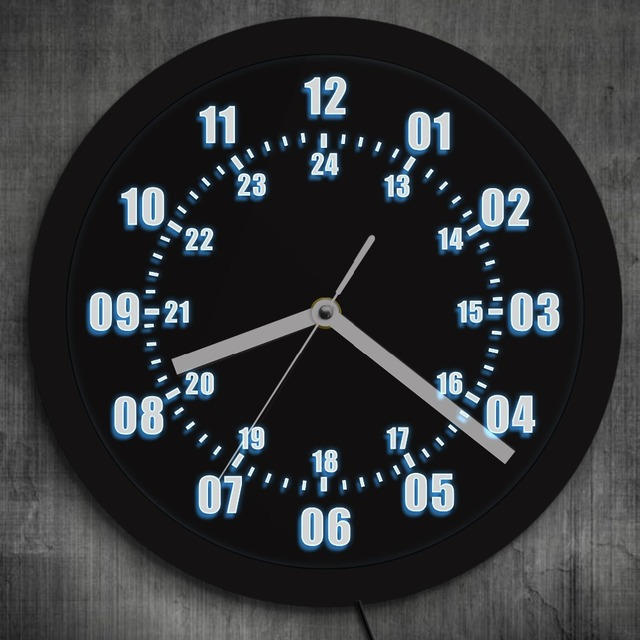 Military Time Clock >> 1piece Military World Time Zone Amateur Neon Led Wall Clock Military
