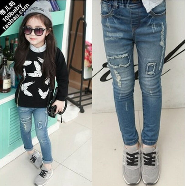 Free shipping 5pc/lot  2015 Fashion  Vintage Children Skinny Jeans Patch Ripped  Distrressed  Girls Jeans Pencil Pants