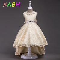 XABH Flower Girl Dresses With Beading Decoration Princess Dress Sleeveless Long Frocks Teenage First Communion Sling Gown Kids