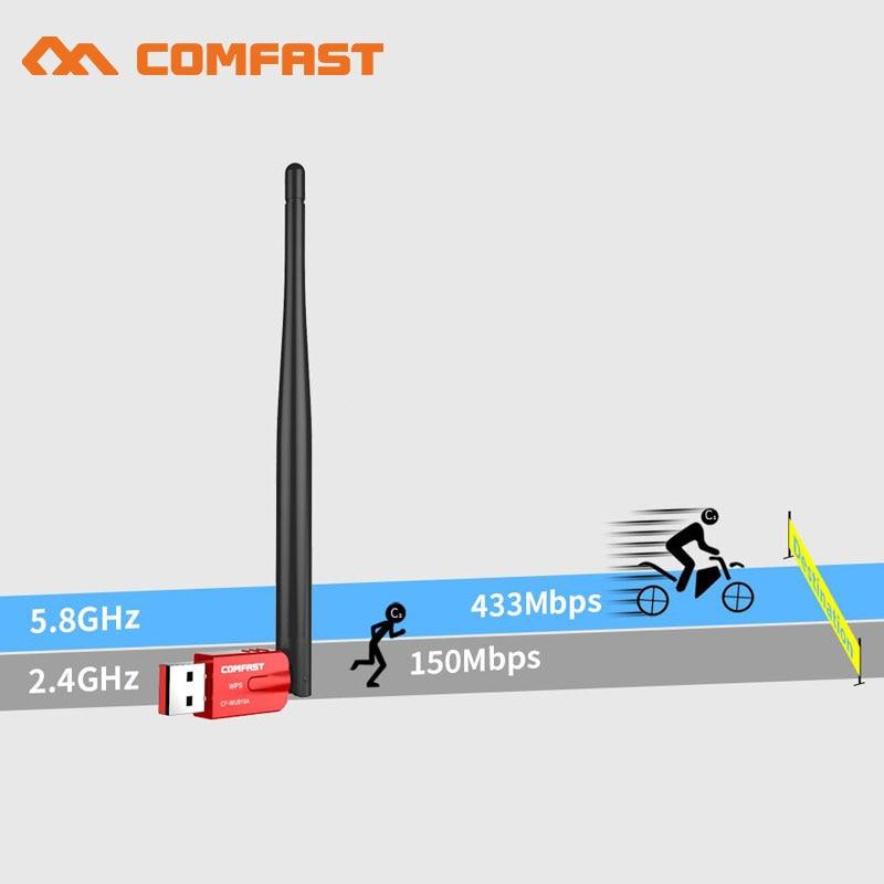 AC600 600 Mbps WPS driver libero Adattatore WiFi USB 5G WiFi Antenna Scheda di Rete Del Computer PC 802.11ac wi fi Ricevitore bluetooth dongle