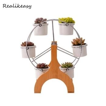 2019 Ceramics Flower Pot Rack Plant Stand Shelf Support For Succulent Plants Flower Ferris wheel Design Creative Decor Planters фото