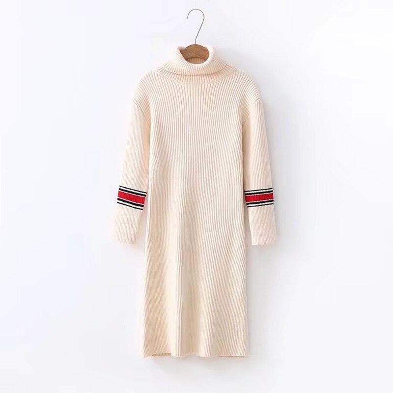 High Collar Knitting Dress 2016 Autumn Winter Fashion Women's Elegant Vintage Long Knitted Basic Dress Slim Woman Dresses