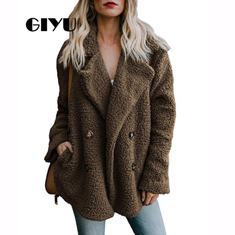 GIYU Winter Long Sleeve Vintage Jackets With Buttons Women Faux Fur Coat Casual Double Breasted Chaqueta Mujer