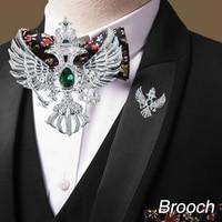 Wr ميدالية برأسين النسر الحرية الفضة بروش ث/كريستال الحيوان النسر تصميم المجوهرات الرجال الكلاسيكية بروش
