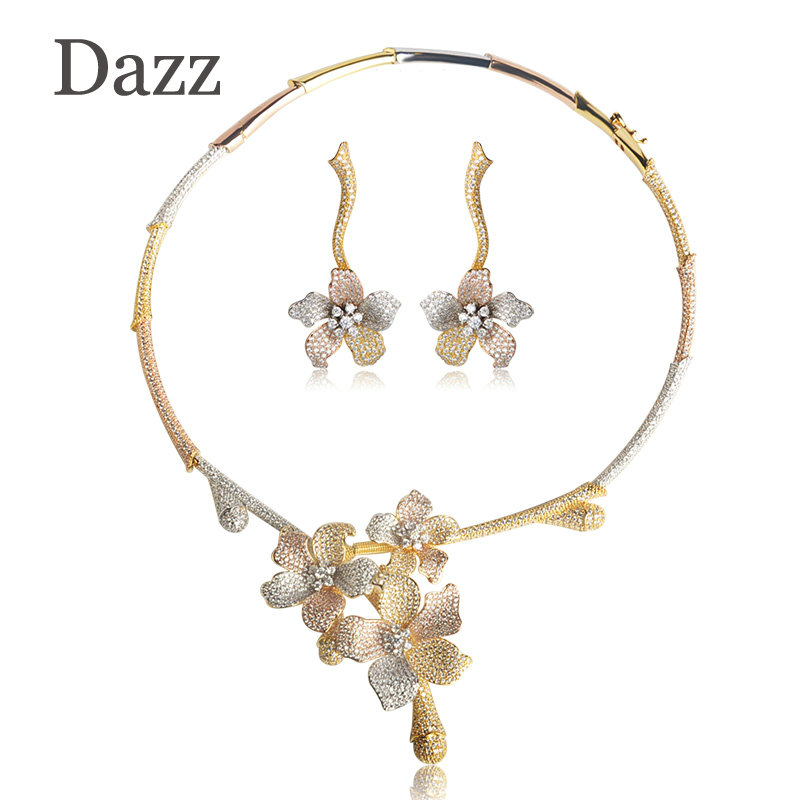 Dazz Big Flower Pendant Choker Necklace Dangle Earring Set Luxury Full Cubic Zirconia Pave Wedding Copper