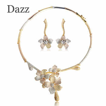 Dazz Big Flower Pendant Choker Necklace Dangle Earring Set Luxury Full Cubic Zirconia Pave Wedding Copper Jewelry Sets For Women - DISCOUNT ITEM  50 OFF Jewelry & Accessories