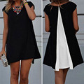 2016 Summer Style Women Patchwork Chiffon Blouse Top Ladies O neck Short Sleeve Loose Casual Shirts Dress Plus Size Blusas
