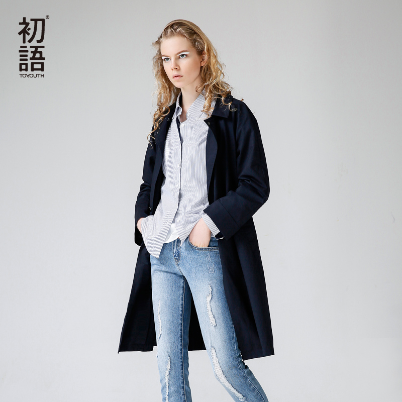 Toyouth 2018 Women Casual Button British Style Winter Long Outwear Casual Navy Pocket Windbreaker   Trench   Coat With Waist Belt