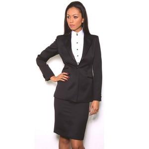 Buying Black Skirt Suits Elegant Formal Work Wear 2 Piece Set Womens Business Suits Blazer Female Office Uniform One Button Custom Made — wickedsick