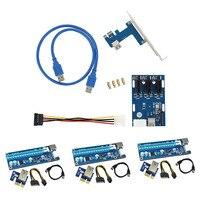 3 Zestaw USB3.0 PCI-E Ekspresowe Extender Riser Card Adapter Kabla Zasilającego zestaw + 1 Zestaw Hub do Pci PCI-E Riser Karty EM88