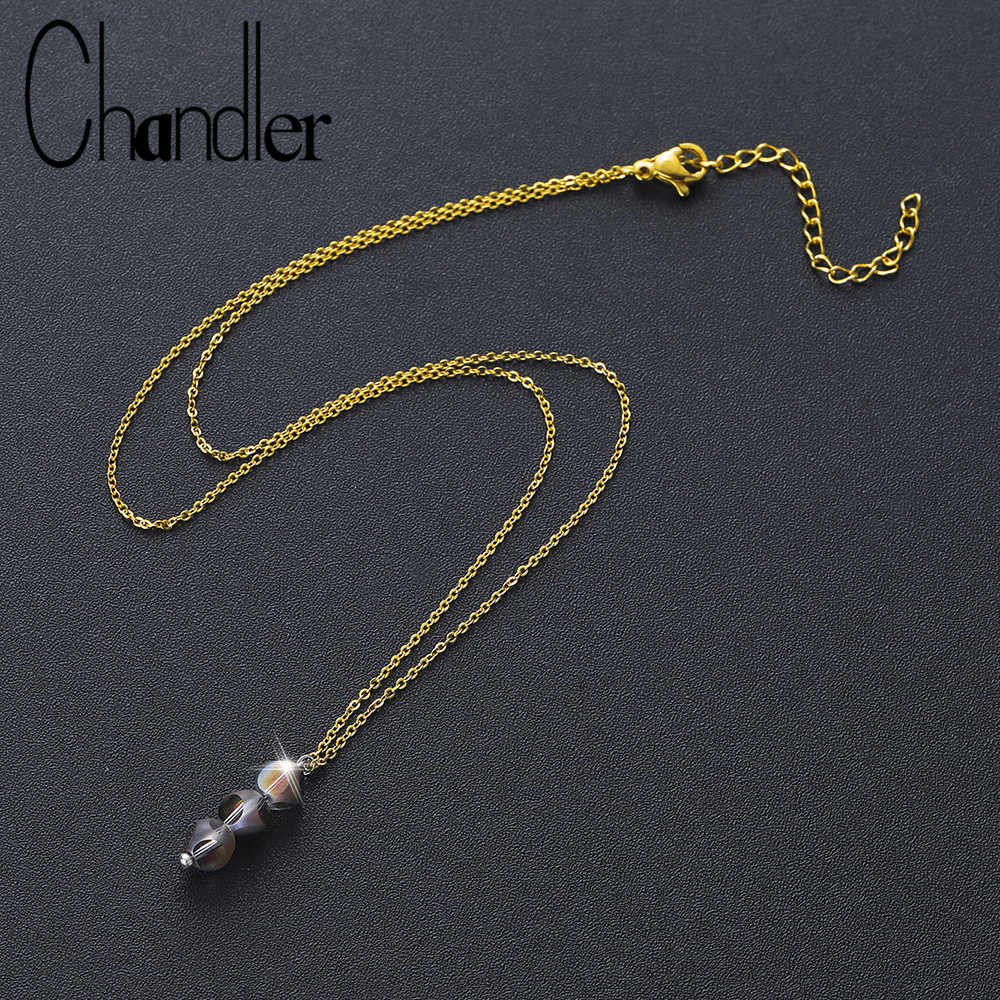 Chandler Faceted Bead Crystal Necklace For Women Spring Collier Steel Clavicle Chain Choker Necklaces Trendy Everyday Bijoux