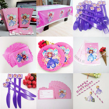 Disney Sofia Princess Party Supplies Napkins CandlesTablecloth Plates Cup Knives And Forks Spoons Popcorn Birthday Decoration