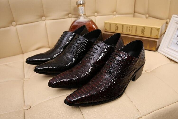 Picture as As Apontado Vestido Couro Python De Alto Picture Sapatos Salto Masculino Pele Formal Homens Mens Sapato Dedo Social Oxford Casamento TqUwAUF