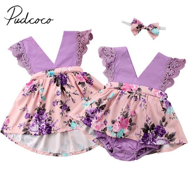 2018 מותג חדש Romper יילוד הילדים בייבי יום הולדת שמלת ילדה פרח תחרה ללא שרוולים שמלות טוטו סט תואם אחות תלבושות 0-6 T