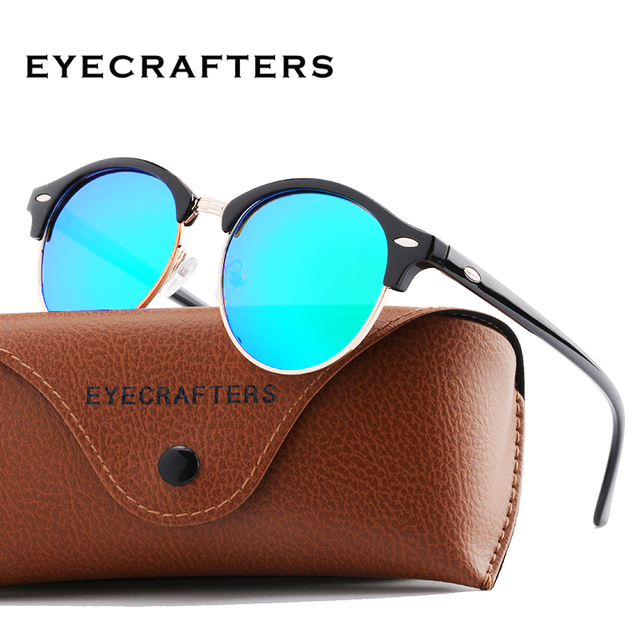 86a9771719 Classic Sun glasses Driving Semi Rimless Eyewear New Polarized Round  Sunglasses Mens Womens Brand Designer Club Round Glasse