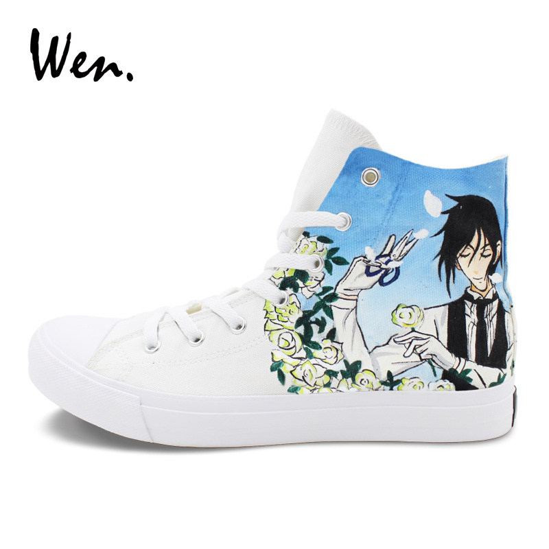 Detail Feedback Questions about Wen Anime Skateboarding Shoes Hand Painted  Canvas Sneakers Custom Design Ciel Sebastian Black Butler Sport Shoes on ... 4b3c7d2409ee