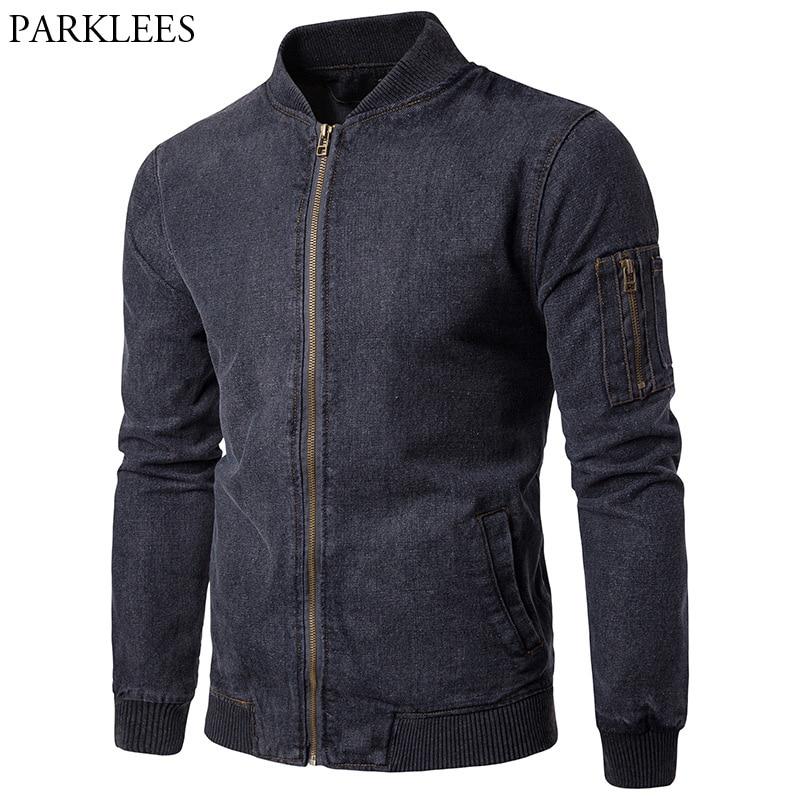 Hommes Jeans Veste de Denim 2017 Automne Hommes Bomber Veste Slim Fit Mens Vestes Et Manteaux Casual Poche Mâle Manteau casacos Masculino