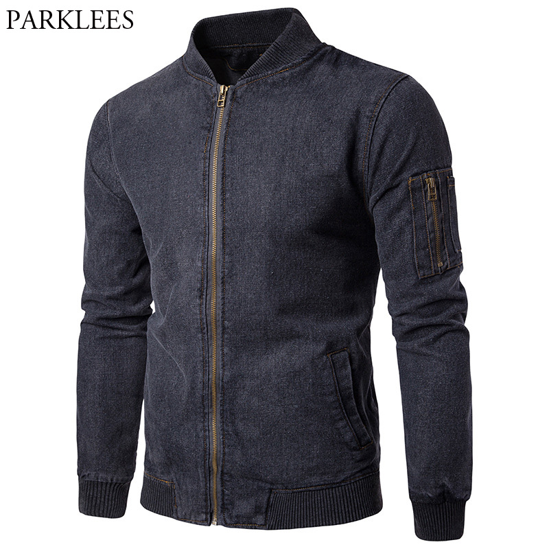 Men Jeans Jacket Denim 2017 Autumn Men's Bomber Jacket Slim Fit Mens Jackets And Coats Casual Pocket Male Coat Casacos Masculino