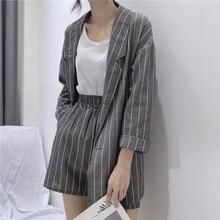 Summer Striped Short Suits for Women Spring Long Sleeve Blazer Jacket & Shorts C