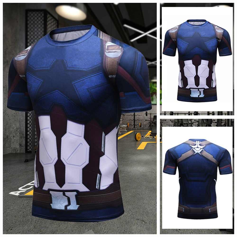 Kapten Amerika 3D T Shirt Pria Lari Anime Thanos Tshirt Pria Pelatihan Kebugaran Jogging Kompresi Kemeja Tee Atasan