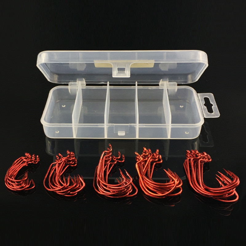 51pcs 1Box Red Worm Hooks High Carbon Steel Fishing Hook Set For <font><b>Texas</b></font> Rig Lure Soft Bait Tackle Cast China 2# 1# 1/0# 2/0# 3/0#