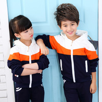 Children's sets 2019 new Spring Autumn Long Sleeve movement Kids Clothes Hooded Zipper Patchwork baby Girls Clothes coat+ Pants