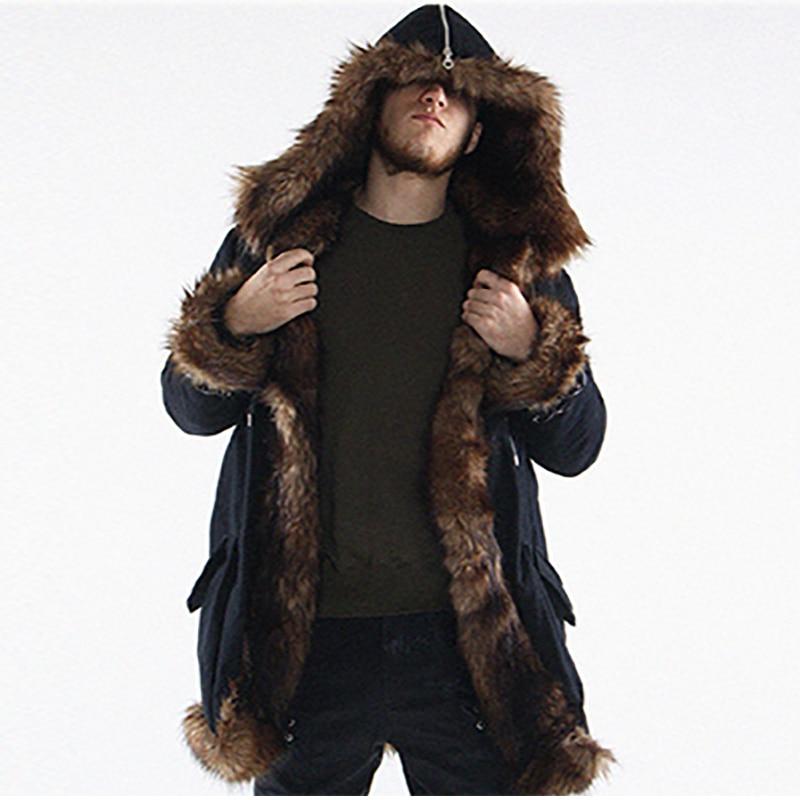 Men Fur Coat Winter Faux Fur Outwear Hooded Coat Men Punk Parka Jackets Long Leather Fleece Overcoats Genuine Fur Brand Clothing