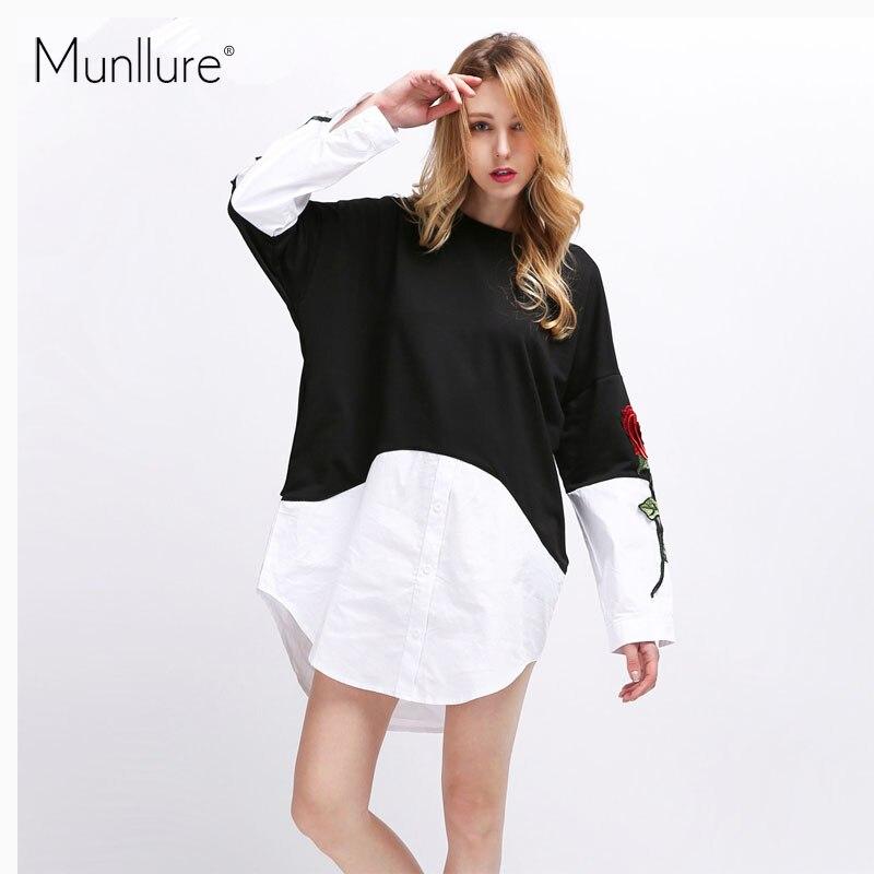 Munllure 2017 Autumn Sweater Dress O Neck Patchwork Knitted Dress Long Sleeved Shirt Embroidery Women Dress