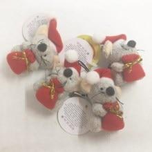 מכירה לוהטת 20pcs 4cm חמוד בית תפאורה חג המולד קישוטי מתנת עכבר עץ צעצוע בובת לתלות חג מולד עץ קישוטי ילדים מתנה