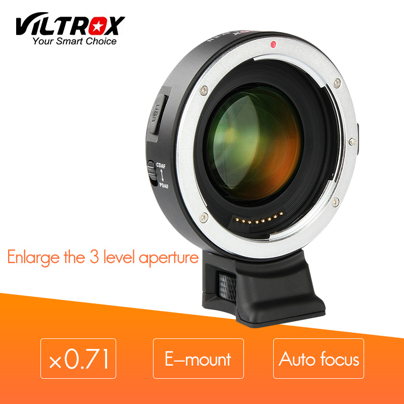 VILTROX EF-E II AF Auto Focus Adapter for sony E-mount cameras to use canon EF lens Reduce focal length and Aperture three Stop viltrox ef nex iii auto focus adapter for canon eos ef ef s lens to for sony e nex a7 a7r a7sii a7ii a6300 a6000 full frame