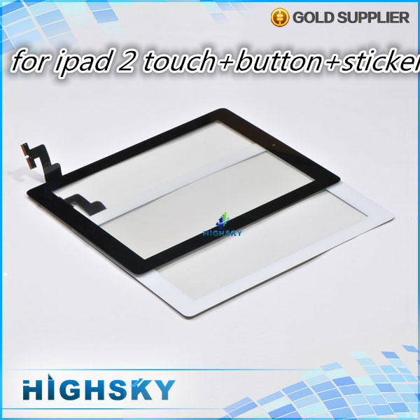 1 piece free shipping black and white lcd screen glass for touch ipad 2 digitizer complete +home button + stickers + tools