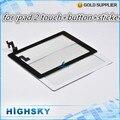 1 unidades envío gratis negro y blanco cristal de la pantalla lcd para el ipad 2 digitalizador completo + home button + pegatinas + herramientas