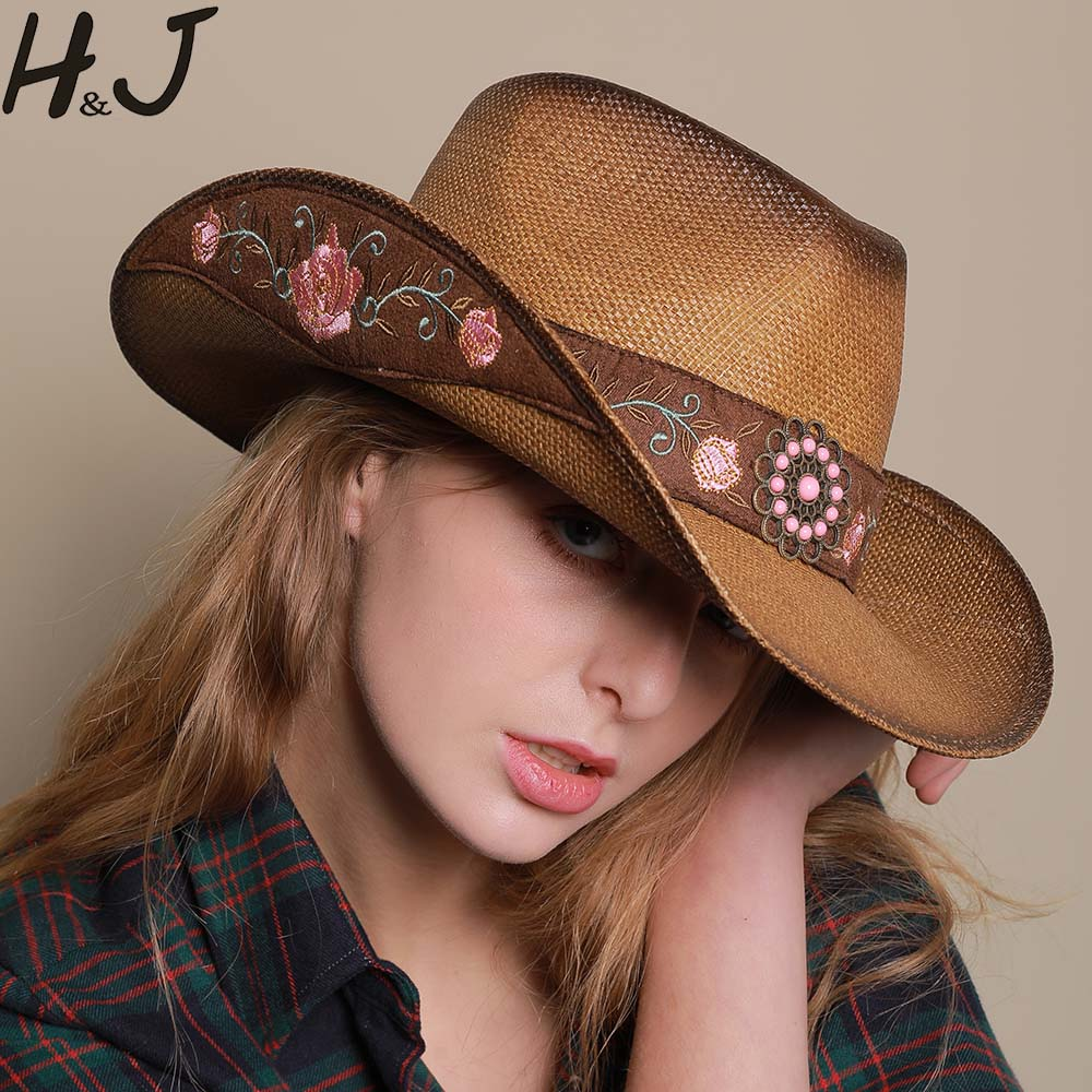 Women Western Cowboy Hat For Summer Elegant Lady Cowgirl Sombrero Hombre  Caps With HandWork Embroidery Hats Size 57 58CM Women's Cowboy Hats  -  AliExpress