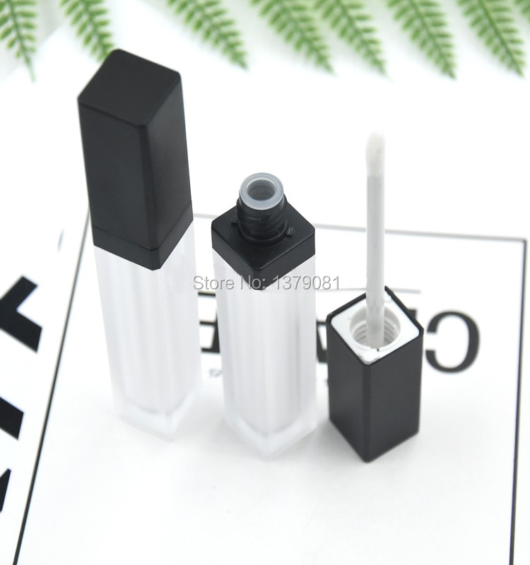 10/30/50pcs 5ml Top Grade Frosted Empty Lip Gloss Tube,Square Black Cap Lip Glaze Bottles,Plastic Liquid Lipstick Container free shipping 12 1mm 10 20 50pcs lot black white high grade lipstick tube spotted empty lip balm container