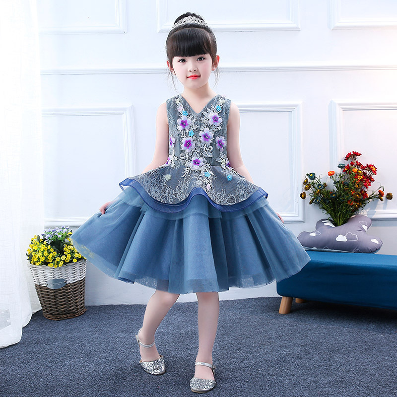 V-neck Flower Girl Dresses for Wedding Embroidery Princess Party Gowns Lace Up Kids Pageant Dress Birthday Layered Girl Dress K army green lace up design v neck cold shoulder irregular hem dress