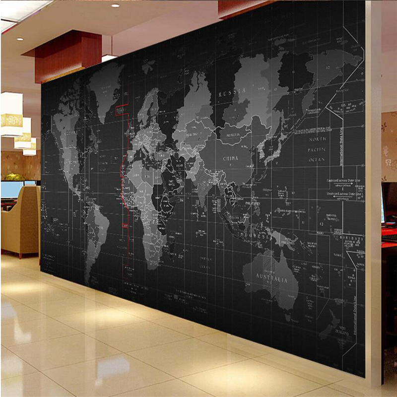 Beibehang Customize Any Size Fresco Wallpaper 3D Personality Technology World Map Mural Background Wall Papel De Parede