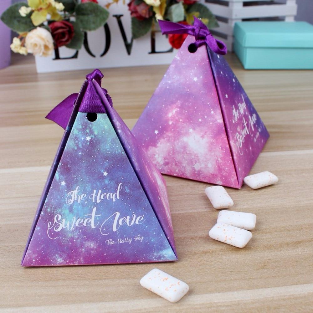 50pcs purple triangular gift box with starry sky galaxy for Wedding supplies near me