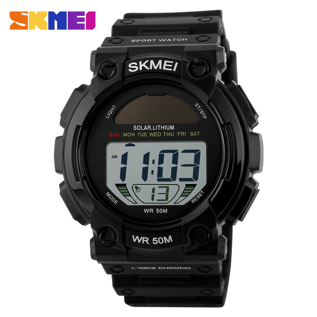 Fashion Outdoor Solar Power Sports Watches Men LED Digital Watch Male Clock Casual Men's Wristwatches Relogio Masculino