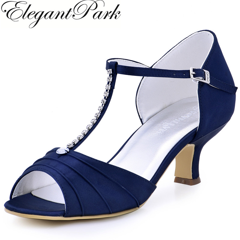 Shoes Woman Navy Blue Low Heel Rhinestone T-Strap Pumps Satin Bride Prom Evening Shoes Women's Wedding Sandals EL-035 Red Green