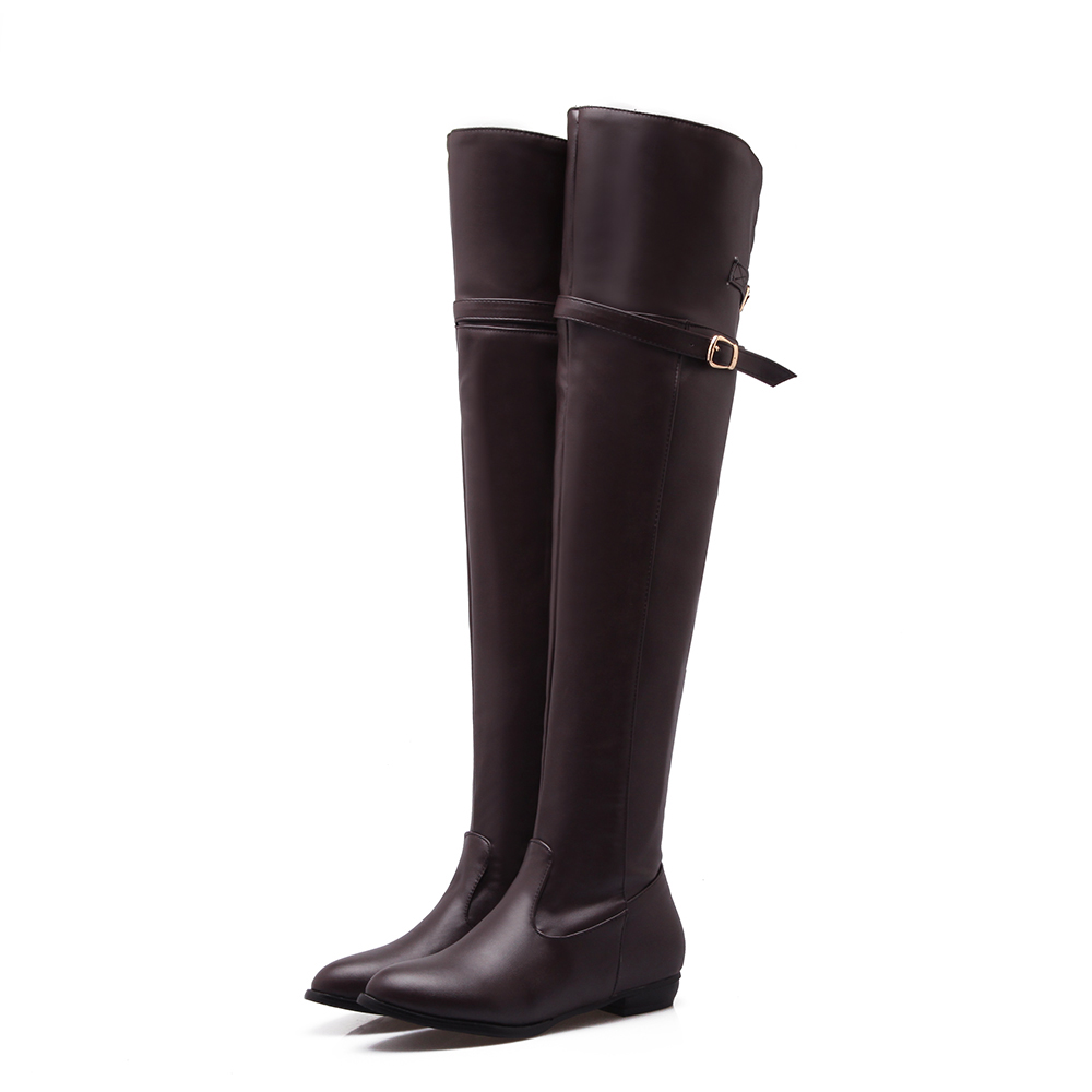 ФОТО Big size 34-45 women boots fashion Buckle Knight boots Round Toe Stovepipe winter boots Square heel Over-the-Knee long boots