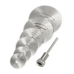 7 pces hss ferramenta rotativa 22/25/32/35/44/50mm circular viu lâminas de corte discos mandril para dremel corte