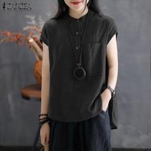 86e2c6af1744 2018 ZANZEA Women Elegant Linen Blouse Asymmetric Hem Summer Top Short  Sleeve Buttons Solid Casual Work