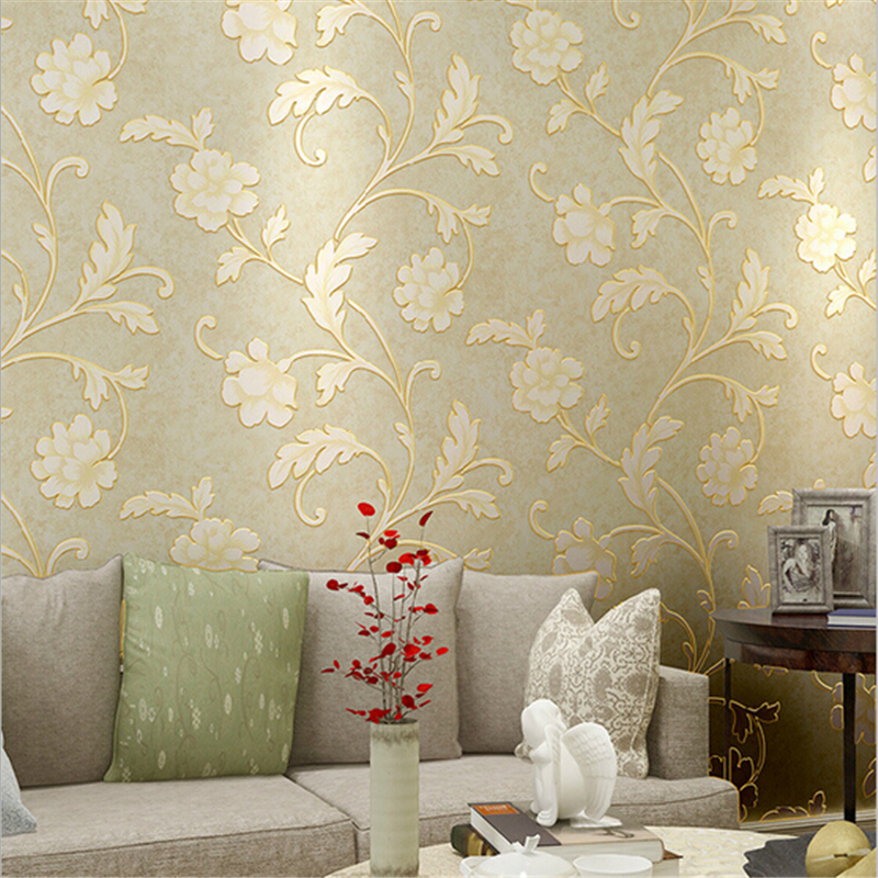 beibehang Pastoral Romantic Flower Wedding House Decor of Wall paper roll 3D Non-woven Stereo Floral Wallpapers Retro Mural 1 06m deep embossed vinyl coated wallpapers floral grass flower wall paper mural for project high quality bedroom home decor