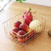 2019New Basket Nordic Storage Rose Gold Metal Baskets Storage Snack Fruit Basket Bathroom Accessories Toiletry Storage Container